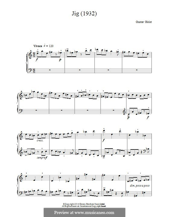 Jig (1932): For piano by Gustav Holst