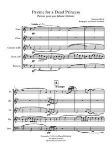 Pavane pour une infante défunte (Pavane for a Dead Princess), M.19: For wind quintet by Maurice Ravel