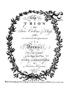 Six Trio Sonatas, Op.5: Violin I part by Franz Kotzwara