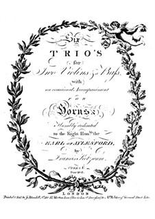 Six Trio Sonatas, Op.5: Basso continuo part by Franz Kotzwara