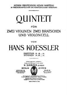 String Quintet: Full score by Hans Koessler