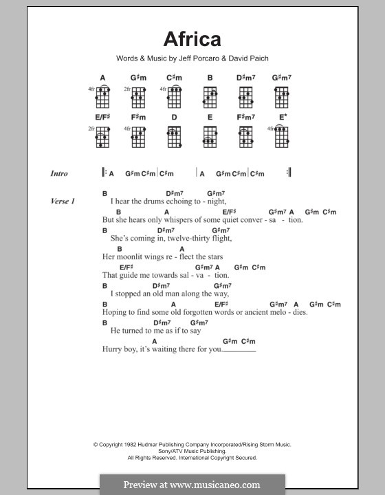 Africa Toto By D Paich J Porcaro Sheet Music On Musicaneo