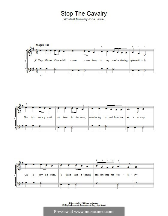 Stop the Cavalry: For piano by Jona Lewie
