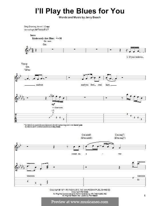 I'll Play the Blues for You: For guitar with tab by Jerry Beach