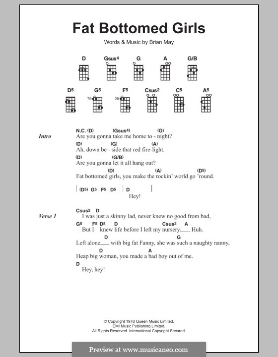 Fat Bottomed Girls: For ukulele by Brian May
