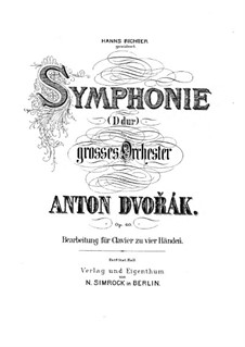 Symphony No.6 in D Major, B.112 Op.60: Version for piano four hands by Antonín Dvořák