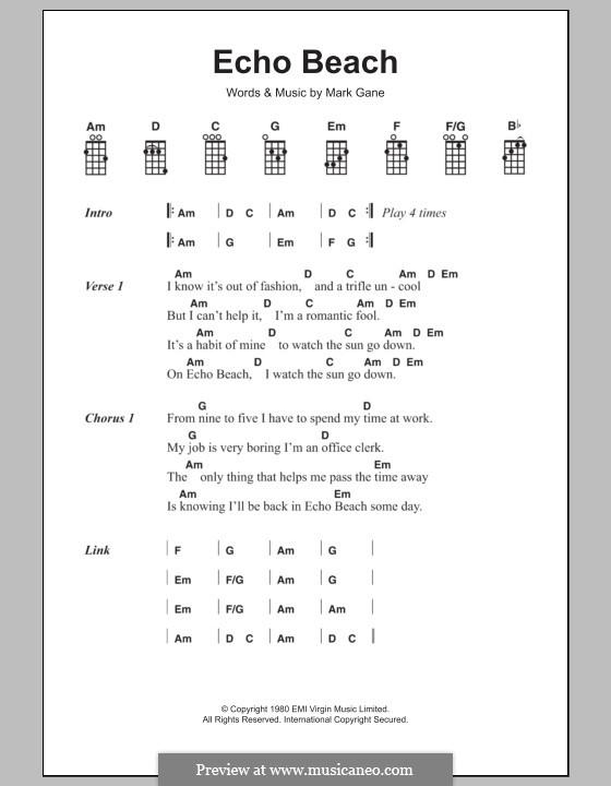 Echo Beach (Martha & The Muffins): For ukulele by Mark Gane