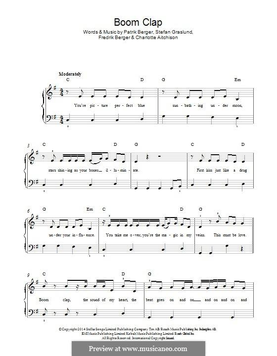Boom Clap (Charli XCX): For piano by Patrik Berger, Charlotte Aitchison, Fredrik Berger, Stefan Graslund