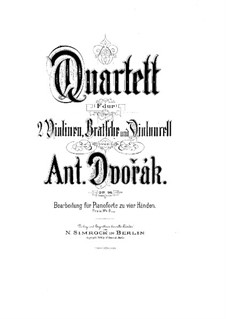 String Quartet No.12 in F Major 'American', B.179 Op.96: Version for piano four hands by Antonín Dvořák