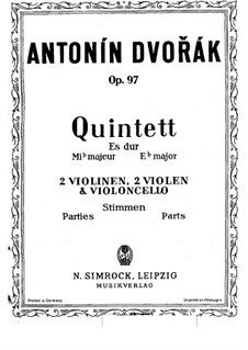 String Quintet No.3 in E Flat Major 'American', B.180 Op.97: Violin I part by Antonín Dvořák