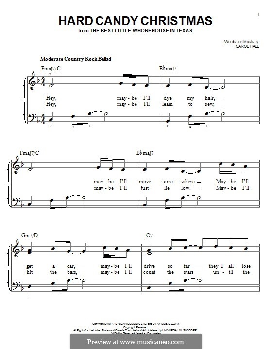 Hard Candy Christmas (Dolly Parton): For piano by Carol Hall