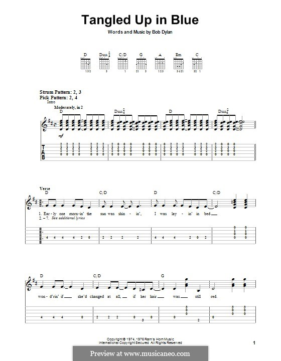 Tangled Up in Blue: For guitar with tab by Bob Dylan