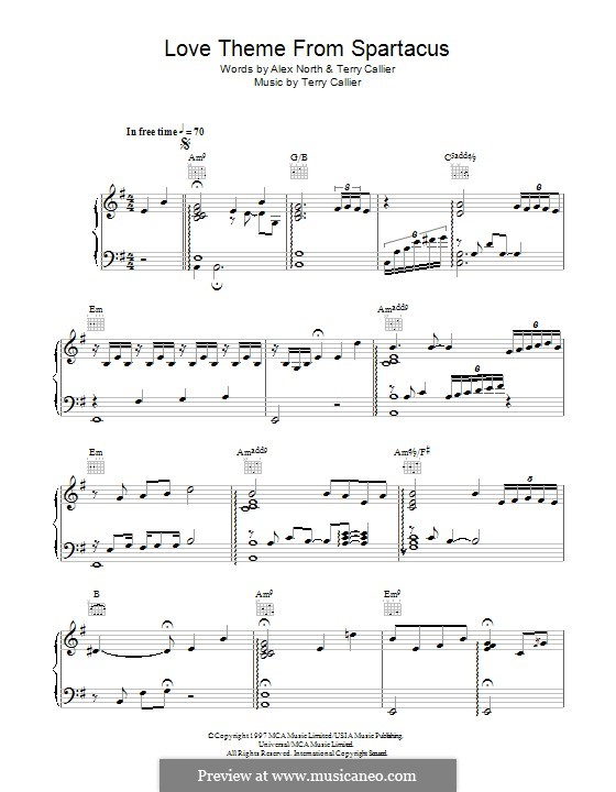 Love Theme from Spartacus: For voice and piano (or guitar) by Terrence Callier