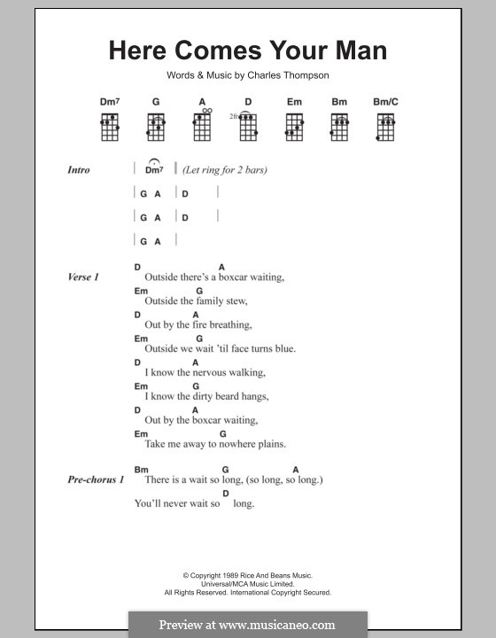 Here Comes Your Man (The Pixies): For ukulele by Francis Black
