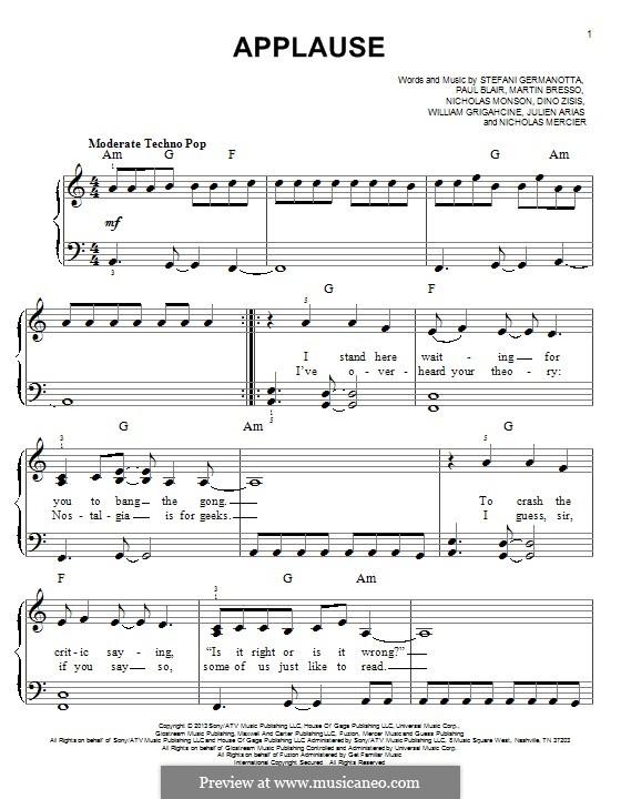 Applause (Lady Gaga): For piano by Paul Blair, Stefani Germanotta, Dino Zisis, Martin Bresso, Nick Monson
