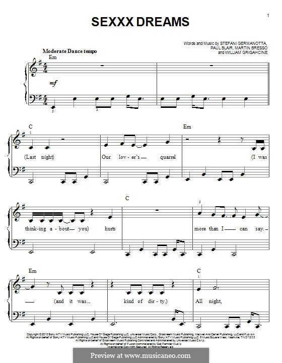 Sexxx Dreams (Lady Gaga): For piano by Paul Blair, Stefani Germanotta, William Grigahcine, Martin Bresso
