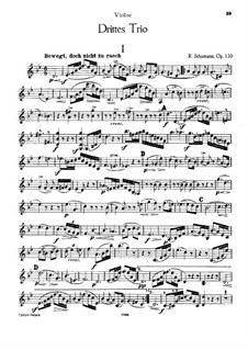 Piano Trio No.3 in G Minor, Op.110: Violin part by Robert Schumann