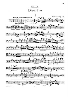 Piano Trio No.3 in G Minor, Op.110: Cello part by Robert Schumann