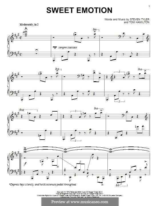 Sweet Emotion (Aerosmith): For piano by Steven Tyler, Tom Hamilton