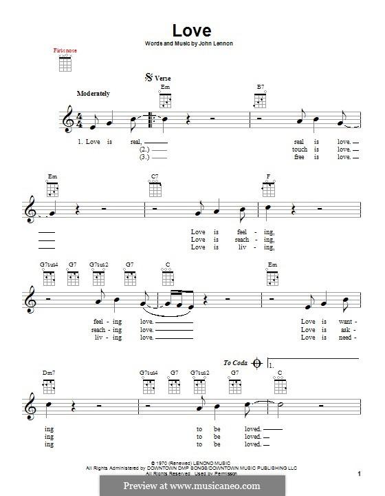 Love: For ukulele by John Lennon