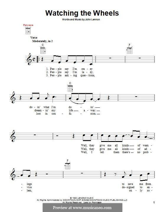 Watching the Wheels: For ukulele by John Lennon