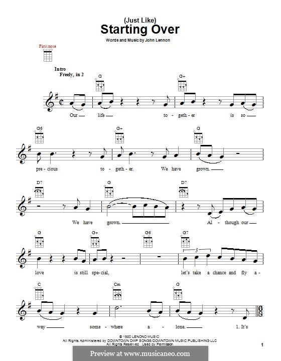 (Just Like) Starting Over: For ukulele by John Lennon