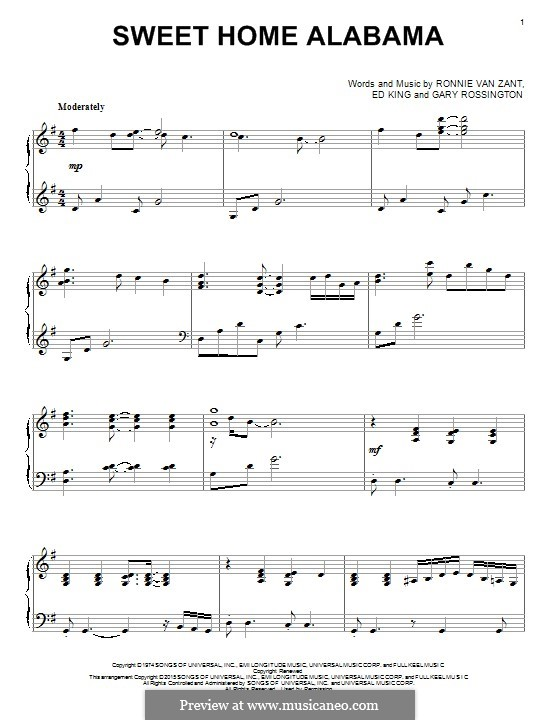 Sweet Home Alabama (Lynyrd Skynyrd): For piano by Ed King, Gary Rossington, Ronnie Van Zant