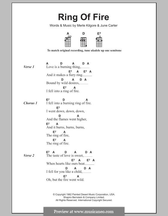 Ring of Fire: For ukulele by June Carter, Merle Kilgore