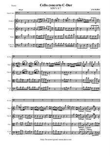 Cello concerto C-Dur, MWV 4/7: Sore and all parts by Johann Melchior Molter