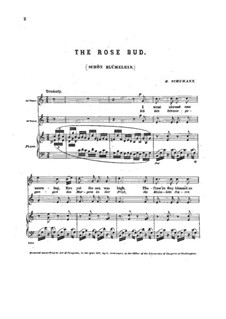 Three Two-Part Songs, Op.43: No.3 Schön Blümelein (Rose Bud) by Robert Schumann