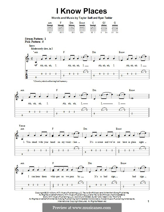 I Know Places: For guitar with tab by Ryan B Tedder, Taylor Swift
