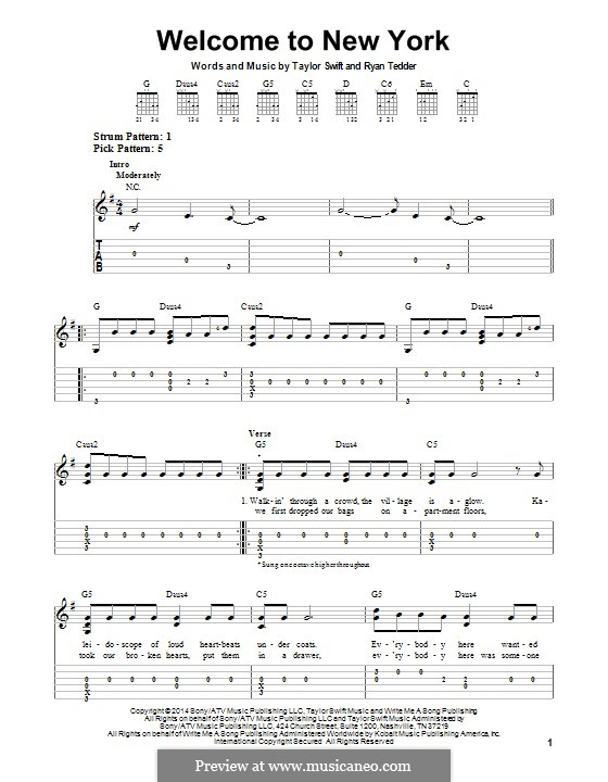 Welcome to New York: For guitar with tab by Ryan B Tedder, Taylor Swift