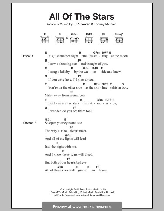 All Of The Stars By E Sheeran J Mcdaid Sheet Music On Musicaneo