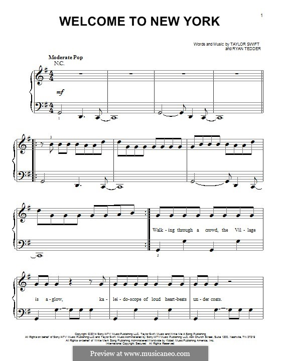 Welcome to New York: For piano by Ryan B Tedder, Taylor Swift
