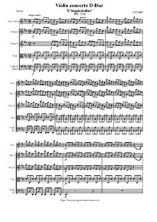 Concerto for Violin and Strings in D Major 'L'inquietudine', RV 234: Score and all parts by Antonio Vivaldi