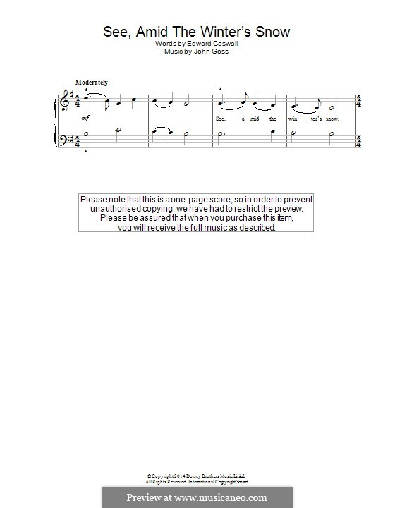 See Amid the Winter's Snow: For piano by John Goss