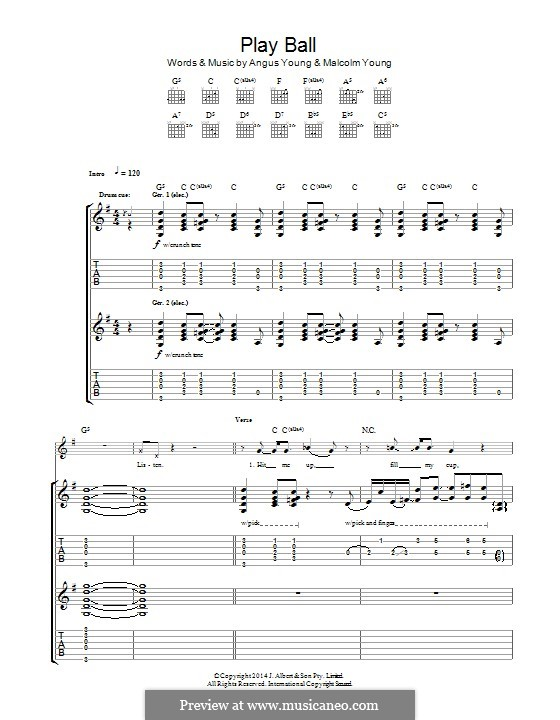 Play Ball (AC/DC): For guitar with tab by Angus Young, Malcolm Young