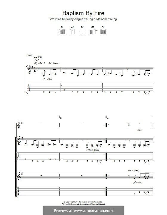 Baptism By Fire (AC/DC): For guitar with tab by Angus Young, Malcolm Young