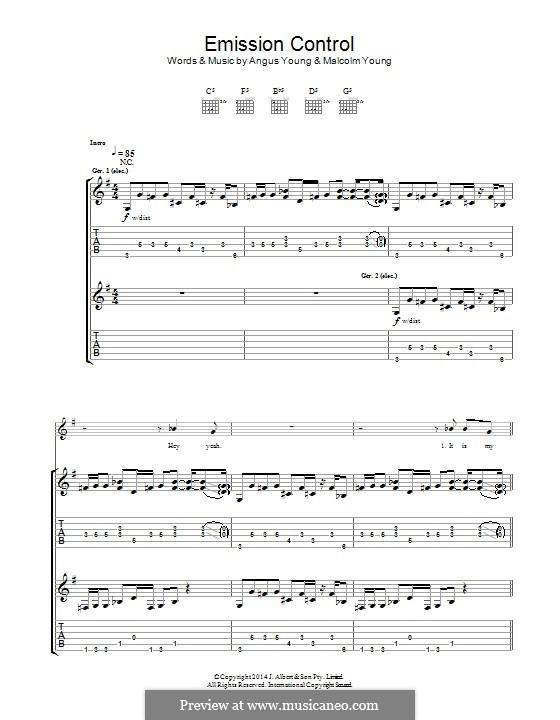 Emission Control (AC/DC): For guitar with tab by Angus Young, Malcolm Young