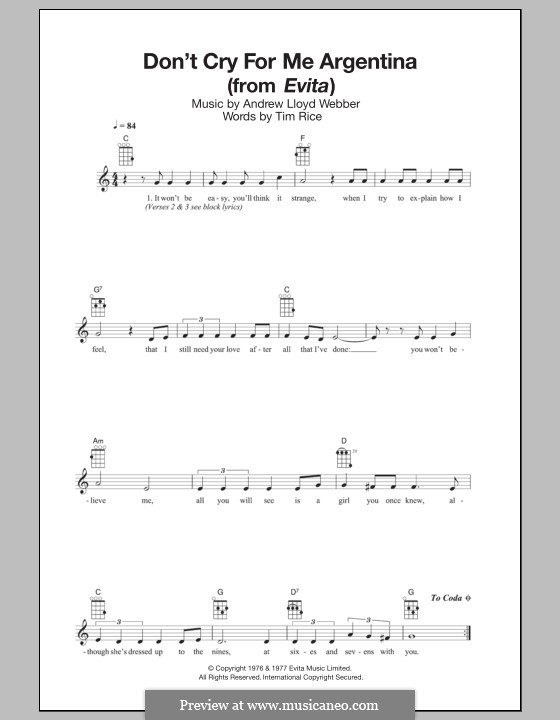 Don't Cry for Me Argentina: For ukulele by Andrew Lloyd Webber