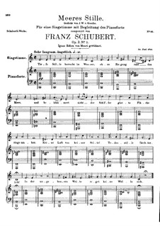 Meeres Stille (Calm at Sea), D.216 Op.3 No.2: For high voice and piano by Franz Schubert