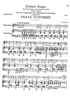 Kolma's Klage (Colma's Lament), D.217: For high voice and piano by Franz Schubert