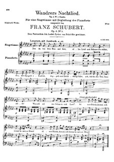 Wanderer's Night Song I, D.224 Op.4 No.3: For high voice and piano by Franz Schubert