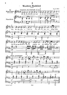 Wanderer's Night Song I, D.224 Op.4 No.3: For low voice and piano by Franz Schubert