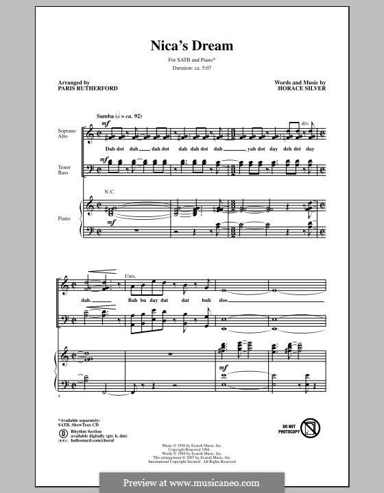 Nica's Dream: For mixed choir by Horace Silver