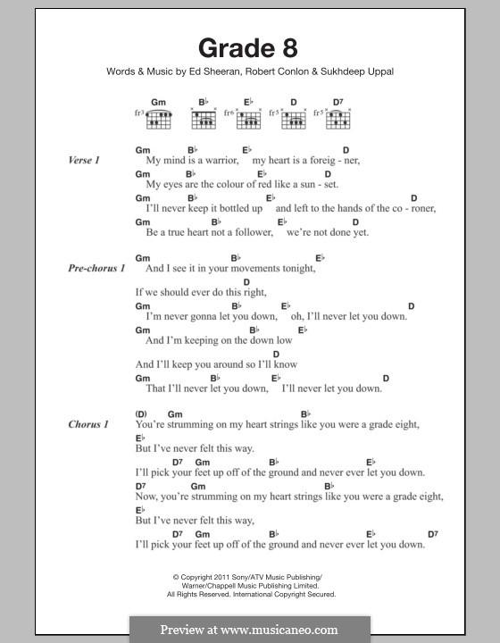 Grade 8: Lyrics and chords by Ed Sheeran, Robert Conlon, Sukhdeep Uppal
