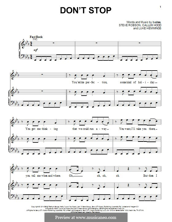 Don't Stop (5 Seconds of Summer): For voice and piano (or guitar) by Busbee, Steve Robson, Calum Hood, Luke Hemmings
