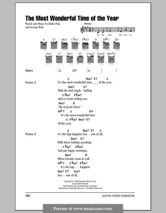 The Most Wonderful Time of the Year: Lyrics and chords by George Wyle, Edward Pola