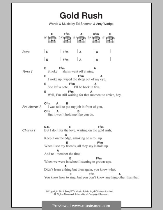 Gold Rush: Lyrics and chords by Ed Sheeran, Amy Wadge