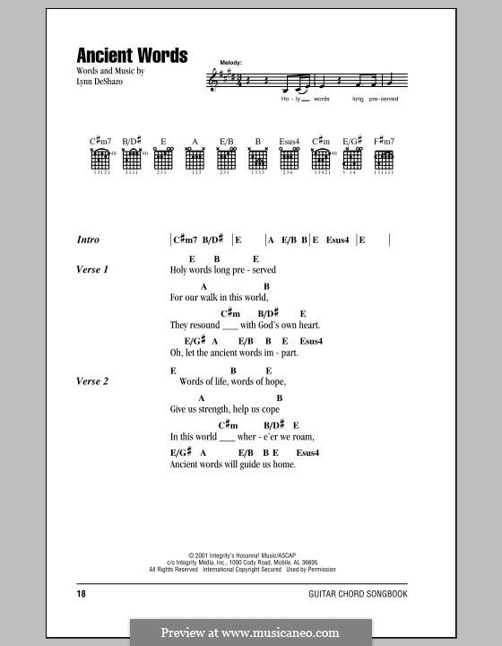 Ancient Words: Lyrics and chords by Lynn DeShazo